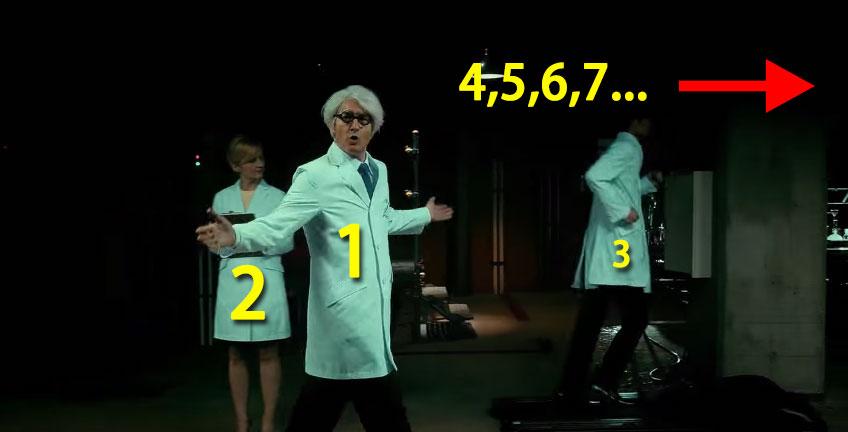 影片中有幾個人穿著實驗室外套呢?這挑戰的不只是專注力...