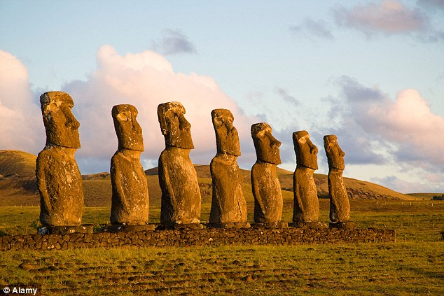 Real Moai statues, above, can be found on Easter Island - about five hours by plane from Santiago, Chile