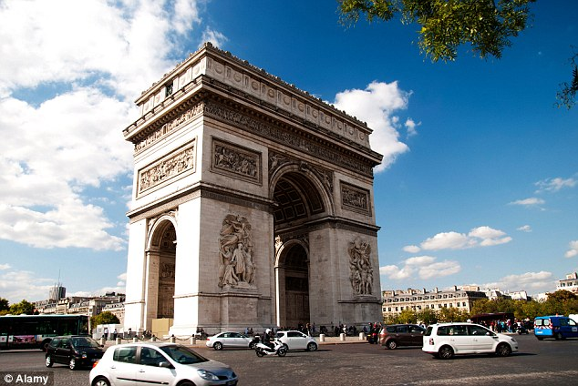 Visitors to Paris will still be able to see the real Arc de Triomphe, pictured, at the end of theChamps-Élysées