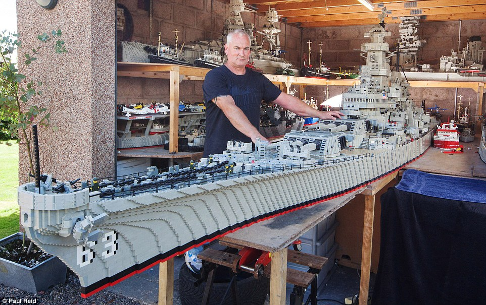 Jim McDonough has painstakingly built a 24ft scale model of 890ft US warship USS Missouri out of thousands of toy bricks in his garage in Redford, near Arbroath, Angus, Scotland