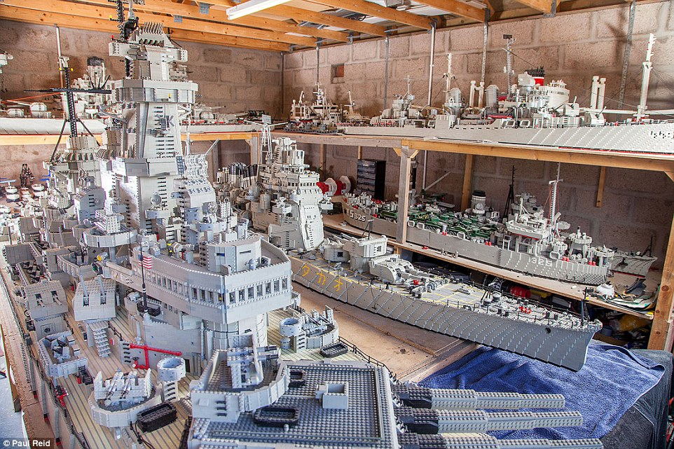 The Lego-mad fisherman spent three years building the world's biggest model of a US warship - only to discover he had been beaten to the title by an American rival by just inches