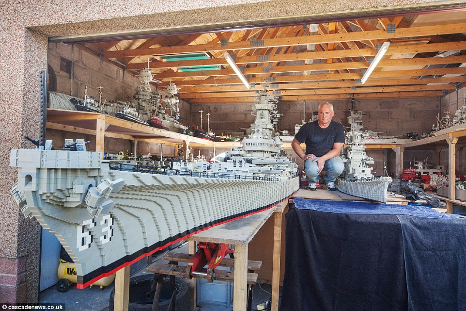 In Mr McDonough's garage his 1:40 scale model of USS Missouri is moored beside the ill-fated USS Arizona, sunk at Pearl Harbour, and a Japanese carrier replete with lines of Zero fighters