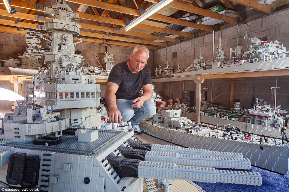 Mr McDonough broke down his first models in order to save space and use bricks on later projects, but he is running out of garage room since the family begged him to keep them