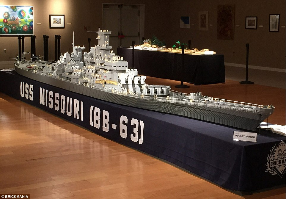 The ship, a replica of the 45000 ton Iowa class battleship built by the New York Navy Yard, was painstakingly built over months