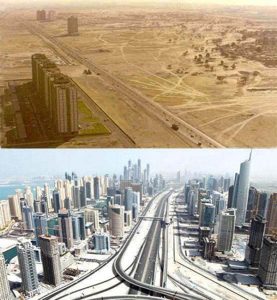 12座食用了「經濟快快發展藥」的世界主要城市「之前之後劇烈變化圖」。