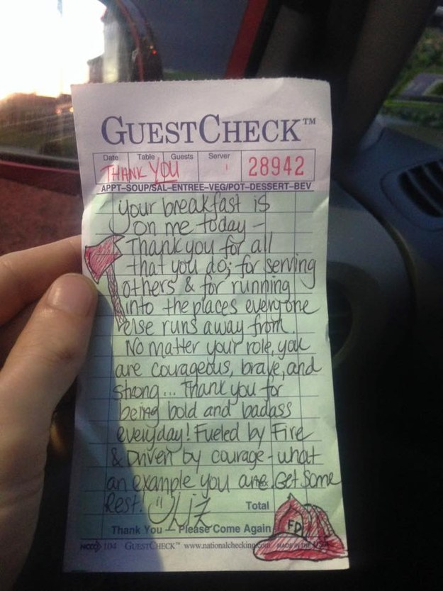 Realizing the men were exhausted, Woodward decided to cover their bill and left a note thanking them for their service.