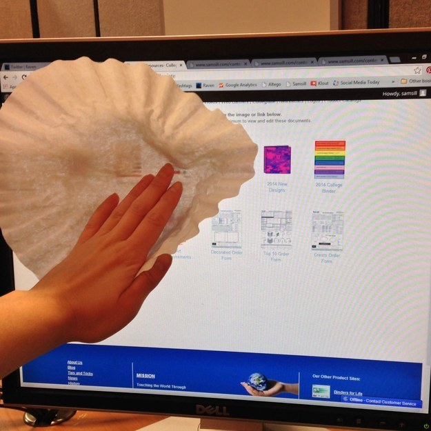 Dust screens with a coffee filter.