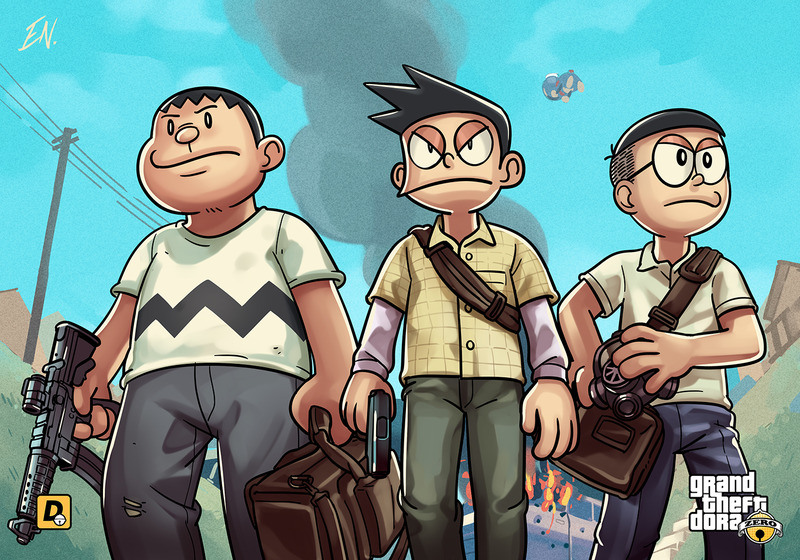 《哆啦A夢》的主角們長大竟然變成《俠盜獵車手》裡的黑道,靜香叛逆的樣子會摧毀你的童年記憶。