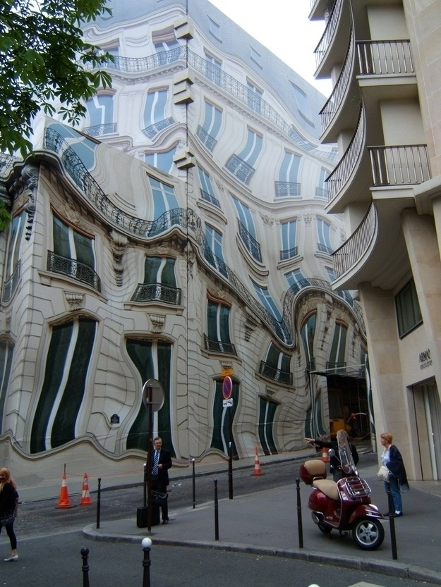 This is an actual building - rather, it's an abstract tarp thrown over the building while it was under construction.