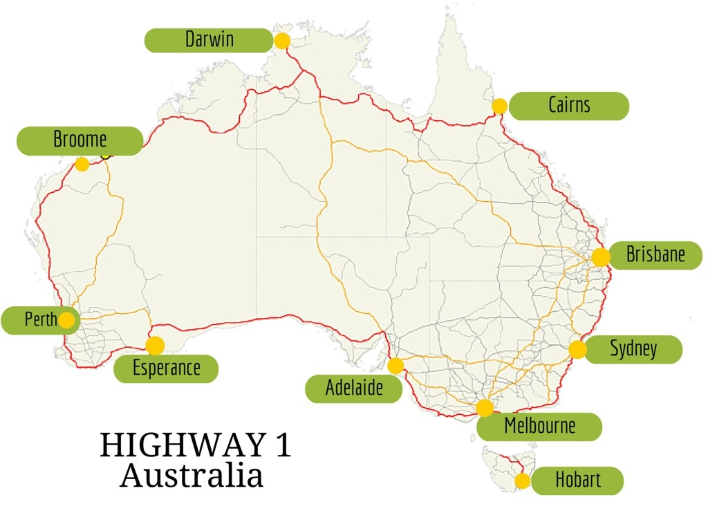 Highway 1 is the world's longest national highway. The length runs 14,500 km, covering the whole country.