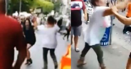 這名女子在街上偶遇老公劈腿的小三後,激烈打鬥的過程中地上突然掉落了一根手指頭...?!