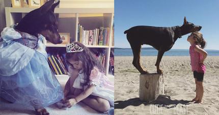 媽媽看小女兒和狗狗每天24小時都黏在一起,逼不得已只好拍下這一系列超可愛「甜心與野獸」的照片。