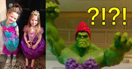 雙胞胎女兒生日時「想要一個浩克公主蛋糕」,於是媽媽就親手做了...等等這下半身是怎麼回事?