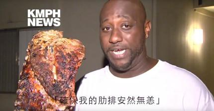 他從火場救出老婆孩子後居然還「衝回去救出正在烤的肋排」,訪問時記者差點忍不住爆笑出來!