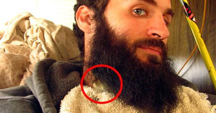 這名男子藏在鬍子裡的神秘小賓客,跑出來時就會可愛到讓你也都會想留一把長長的鬍子!