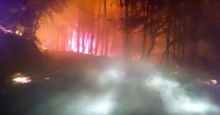 他在逃離加州山林大火時將過程拍下來,驚險畫面完全比末日電影「明天過後」還要驚悚啊!