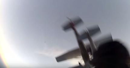 他們正要跳傘時,就在38秒時另一架飛機撞上把他們給推出了飛機外...
