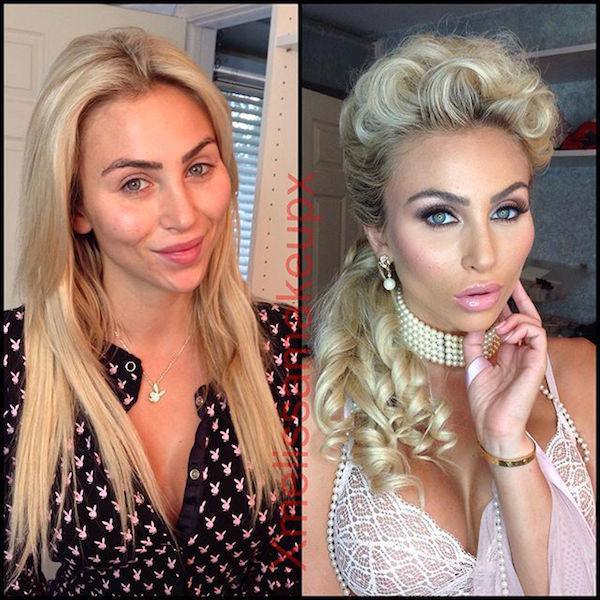46個成人片女優的化妝前後照。
