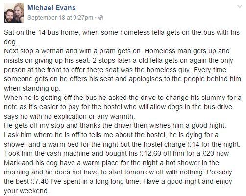 這位男子看到「公車司機不給流浪漢找零錢」後做出的善舉會改變你對這個社會的看法!