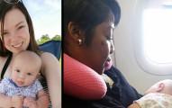 這位年輕媽媽在飛機上一直無法讓寶寶不哭,而旁邊這位女士突如其來的舉動卻讓寶寶馬上安靜下來。
