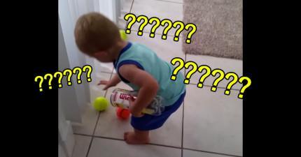 這個小朋友撿地上的球好像永遠都撿不完,當你看了2秒後就會看到原因笑出來了!