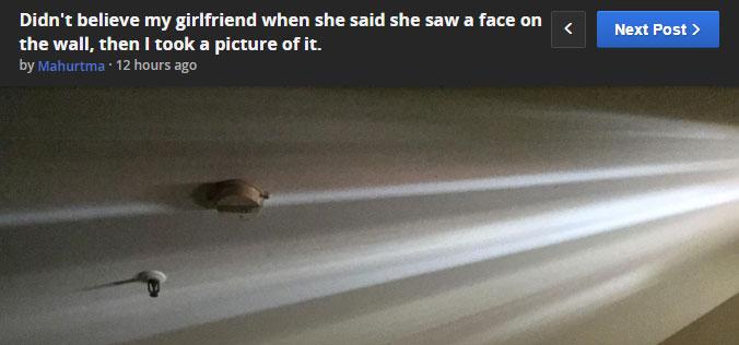 網友的女友說在牆上很常會看到一張臉但他都不相信,結果網友看到後也都建議他女友快搬出去!