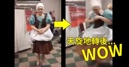 她打扮的灰姑娘看似很普通,但在「轉圈20秒後」瞬間讓所有人尖叫連連!