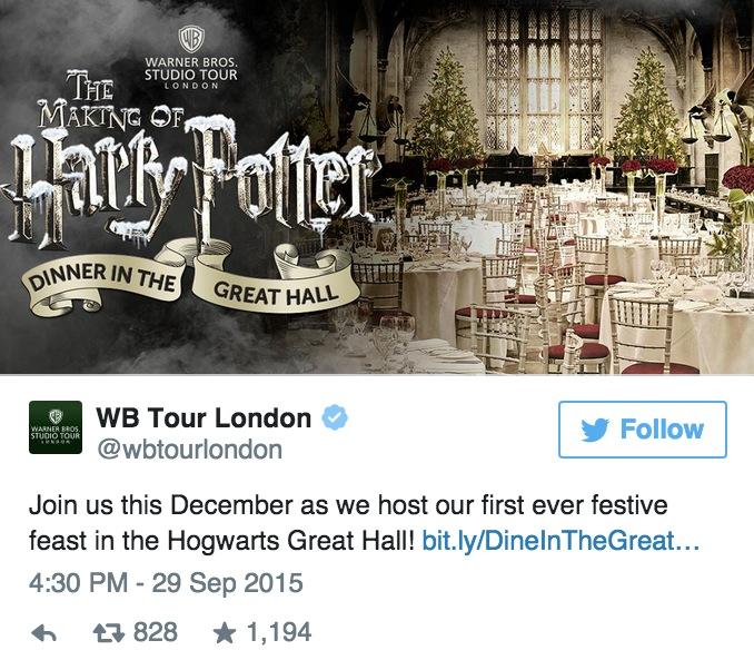 今年聖誕節你就可以在哈利波特世界裡的「霍格華茲大禮堂」享用魔法餐了!*興奮到尖叫*
