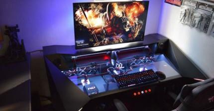 神級玩家花了22萬打造出這個「爽度破表的超豪華電玩基地」,當向前一步往下看時...這太讓人羨慕了!