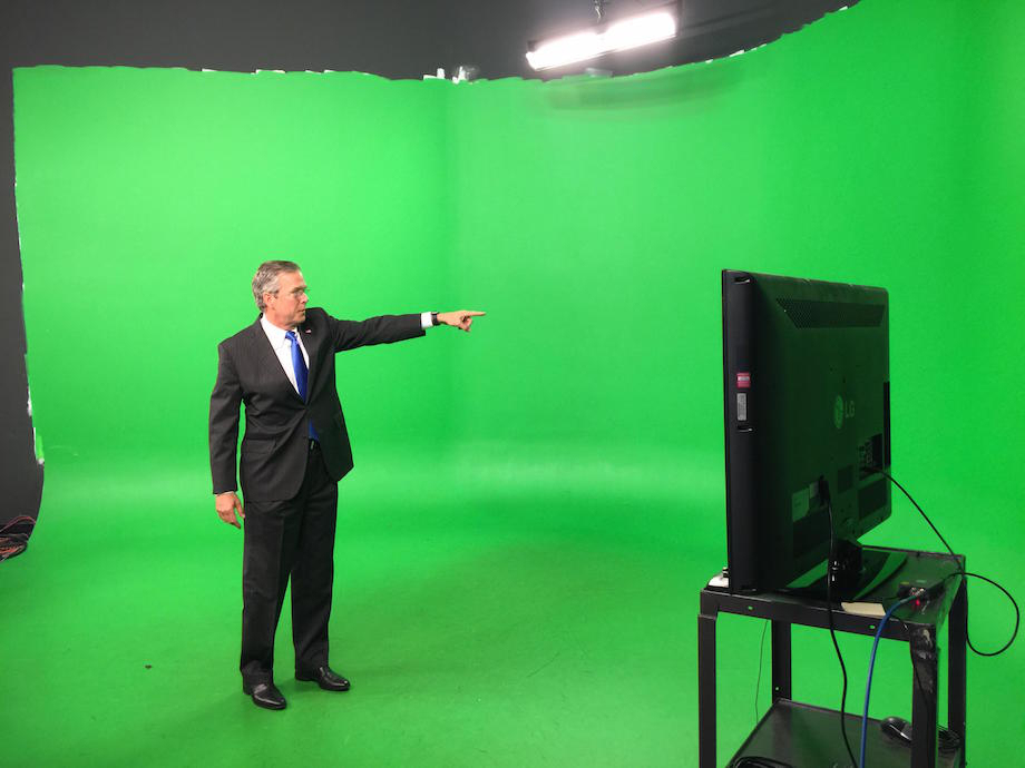 Presidential hopeful Jeb Bush was assisting an local weatherman in Iowa last week, which naturally requires a green screen. His campaign tweeted a couple of high quality behind the scenes images. They probably knew what they were doing but we really don't mind. Check out the handiwork the internet has mustered.