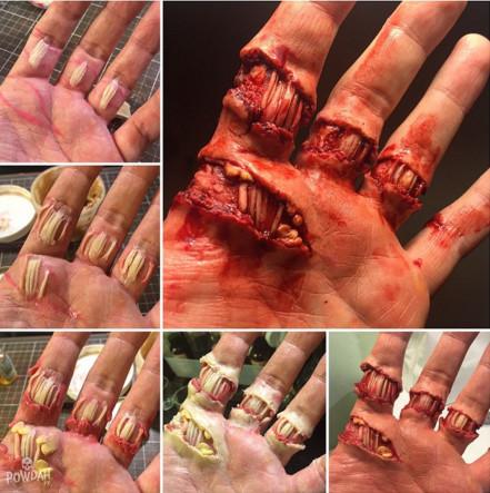 這些照片中根本就沒有傷口,但超強化妝技巧已經讓網友都嚇到看幾張就不敢看了!