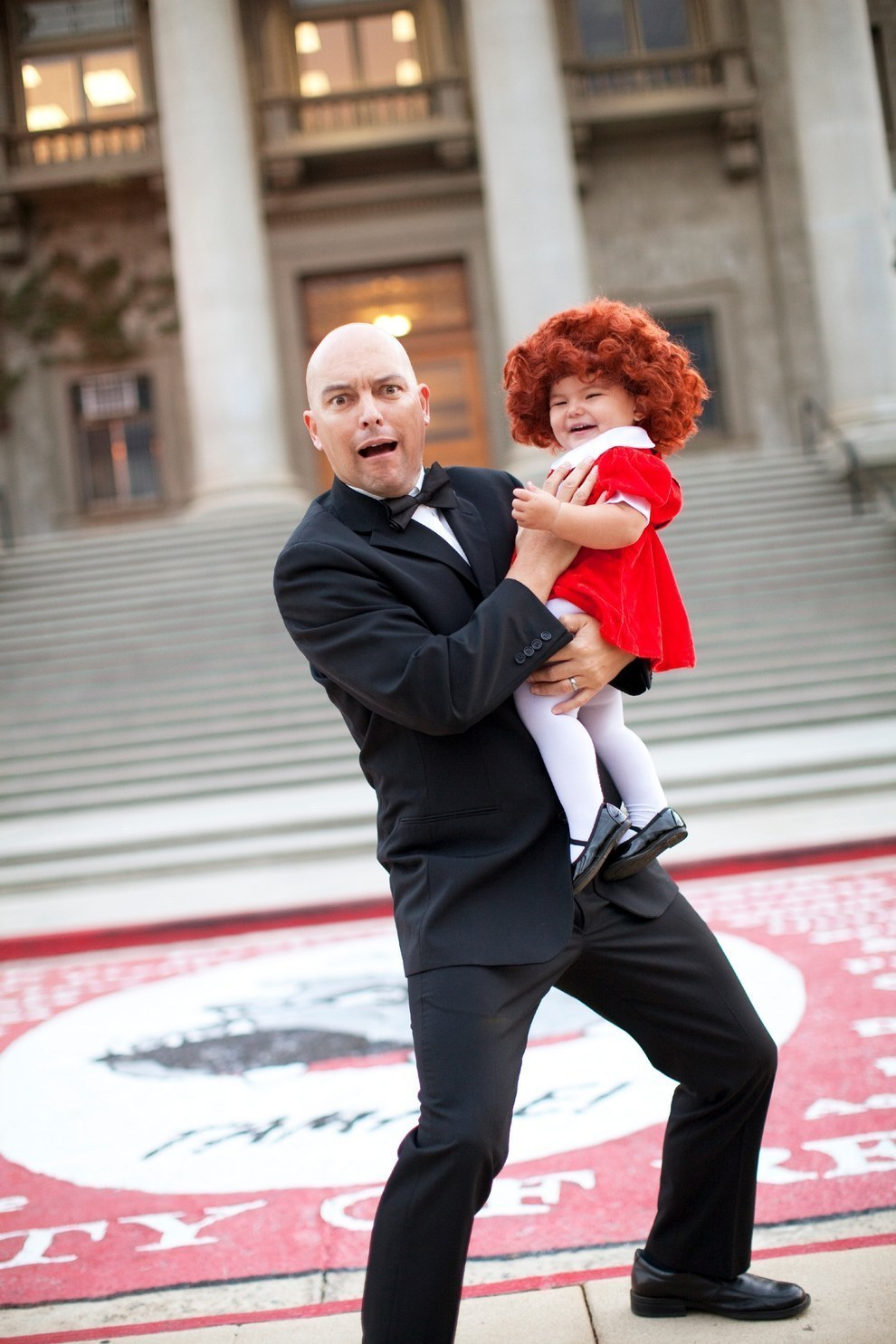 Brought her dad, Christopher, in on the fun to become Annie and Daddy Warbucks...