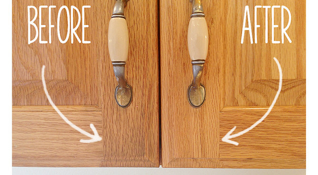 Get the grime off the front of your cabinets with baking soda paste.