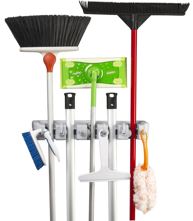 Hang your brooms and mops upright instead of storing them on the floor.