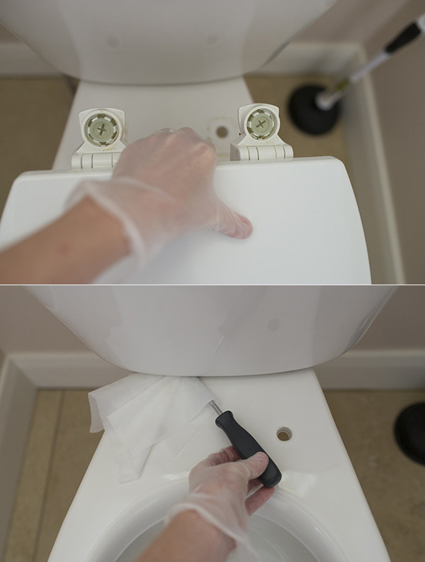 To get the nooks and crannies of your toilet super clean, take the lid off and use a screwdriver and Clorox wipe.