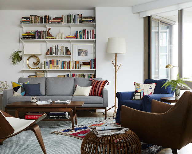 Here's what to look for in a sofa: simple and high-quality fabric, straight (not tapered) legs, minimal details, and cushions that are not overstuffed.