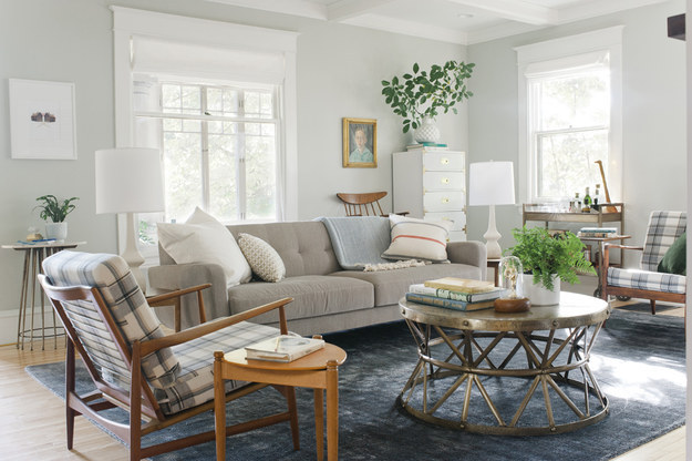 Living room rugs should be big enough for at least two legs of each furniture piece to be on it, if not all four.