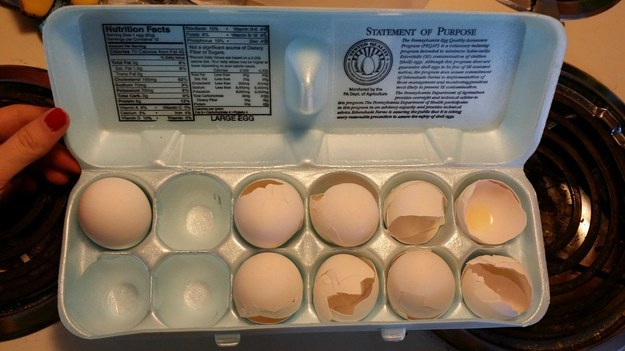 When people think that the place for egg shells is back in the egg box, with all the nice unopened eggs.