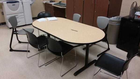 When chairs are not pushed back in under tables.