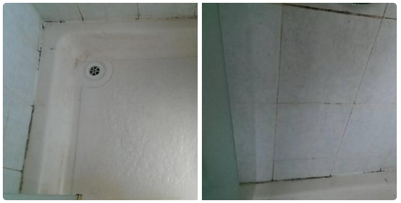 Showers that are covered in mould.