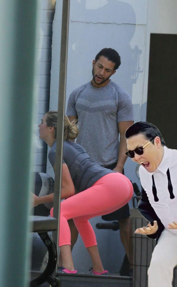 超模凱特阿普頓跟健身教練在運動時被網友拍到教練色色的眼神,結果最爆笑的PS大戰就開始了...