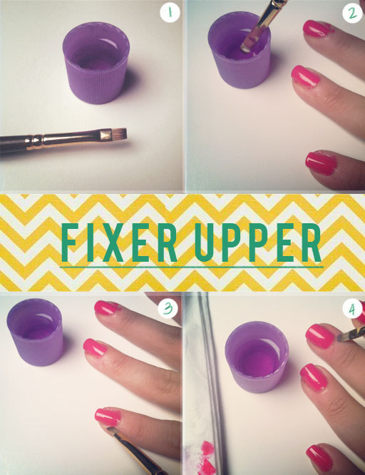 Use a tiny brush and some nail polish remover to get rid of polish around your cuticles.