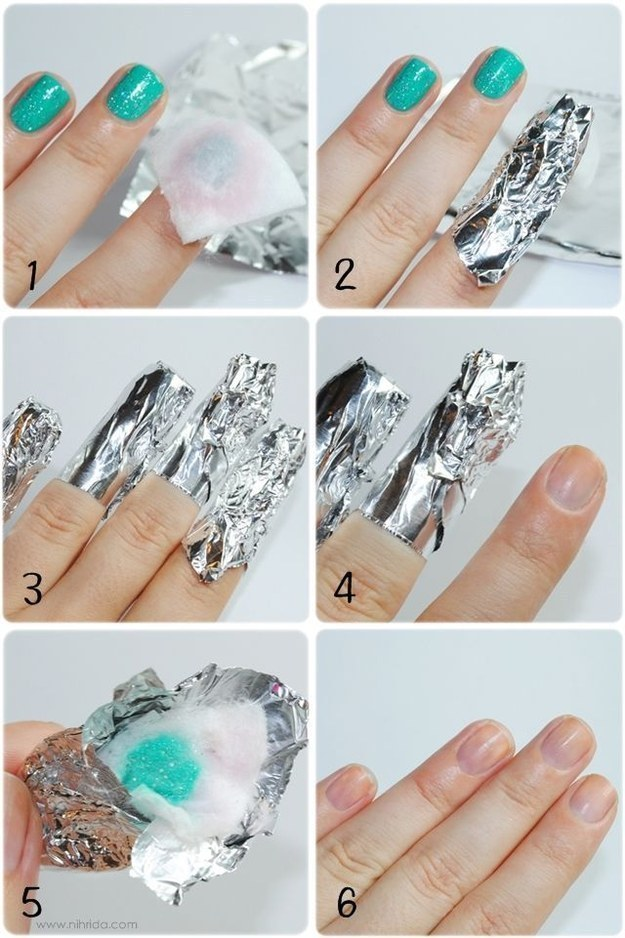Get rid of pain-in-the-ass glitter polish with this tin foil trick!