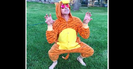 看到為什麼小勞勃道尼穿成一個老虎後,你會忍不住給他你120%的愛!