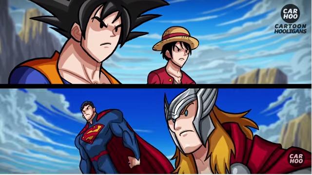 當「悟空+魯夫」對上「超人+索爾」時,你覺得這場超熱血史詩對決哪一方會打贏呢?