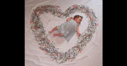 這張「嬰兒被針筒環繞」的照片乍看有點恐怖,但是背後的故事其實加了很多洋蔥。