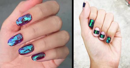 一般指甲彩繪弱掉了,這才是最新讓韓國女孩都瘋掉的「碎玻璃指甲」!