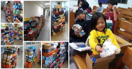 廣播電台舉辦的鞋盒捐愛活動原本預計兩週要收到600個鞋盒,但才過7天他們收到的量多到主辦單位緊急喊卡!