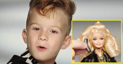 芭比娃娃56年來「第一次用小男孩來當廣告主角」,小男孩超殺閃亮表現在網路上爆掉了!