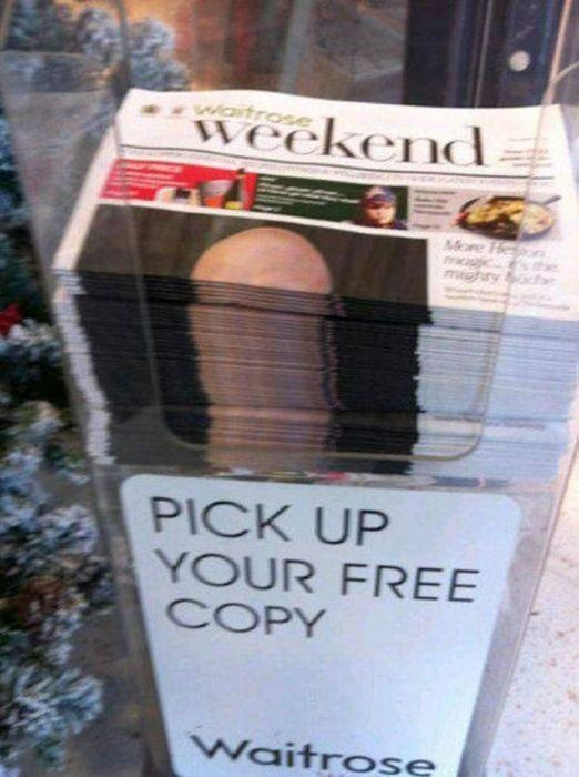 Such a neatly organized stack of newspapers.